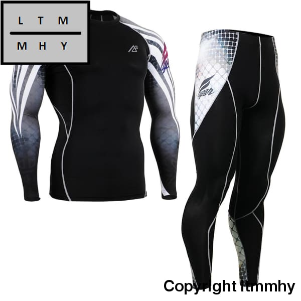 Mens Running Suit Set Skin-Tight Tracksuits Gym Training Sportsman Wear Male Yoga Clothing