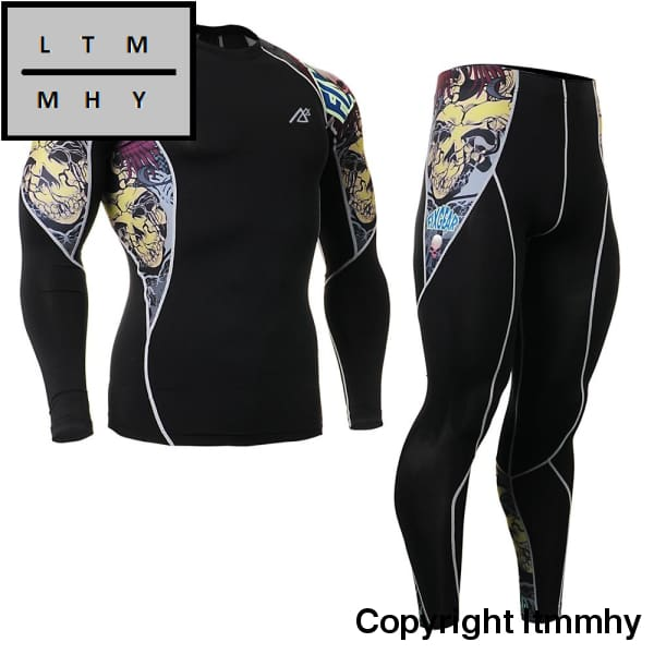 Mens Sports Running Set Compression Shirt & Pants Skin-Tight Long Sleeves Quick Dry Fitness