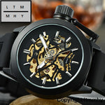 Mens Watches Top Brand Luxury Hollow Skeleton Automatic Watch Men Clock Black