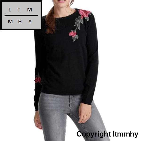 New Arrival Blouse Floral Printed Women Long Sleeve Appliques Solid Hooded Sweatshirt Pullovers Top