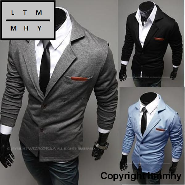 New Fashion Casual Slim Design Stylish Two-Button Suit Men Blazer Coat Jackets Solid Garment 3