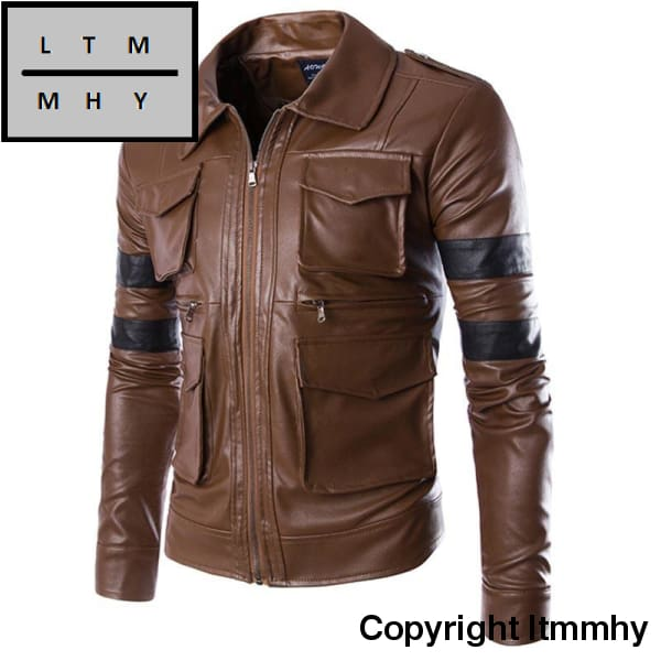 New Men Brand Fashion England Style Leather Jacket Coat Multi-Pocket Design Zipper Motorcycle Solid