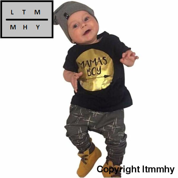 Newborn Cute Baby Boy Clothing Set Mamas Boy Cotton Tops+Pants Clothes Suits Outfits Infantis 2 Pcs