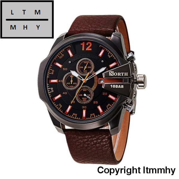 North Watches Men Sports Leather Waterproof Quartz Pulse Male Watch Brown / A