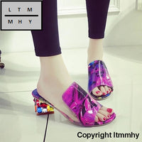 Rhinestone Peep Toe Heels Women Sandals Shoes Sexy Open Wedge Slides Woman High Platform Flip Flops