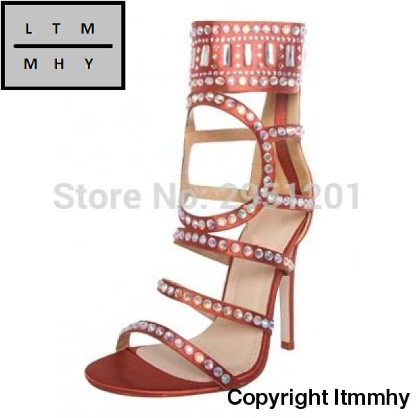 9984f81759f00 ... Sexy Women Bling Crystal Glitter Dress Sandals Stiletto Strappy Shoes  Cut-Out Round Shape Design ...