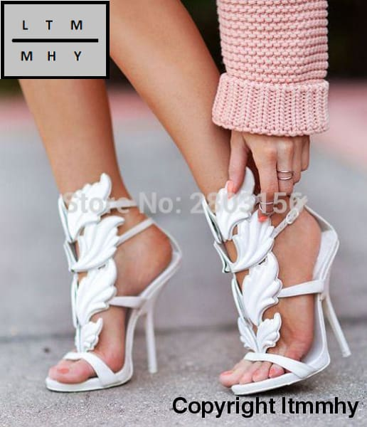 7c3a7b6d6f2b2b ... Sexy Women Open Toe Sandals Leaf Flame Cut Outs High Heels Gladiator  Party Shoes Woman Wings ...