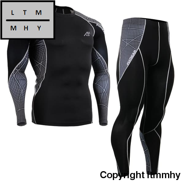 Sportsman Wear Gym Training Mma Workout Fitness Mens Compression Shirts&tights Set Skin-Tight