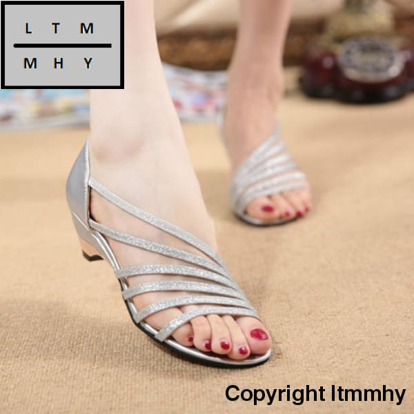 Stripe New Womens Sandals Summer Fashion Sweet Dress Sandals Hollow Low Heel Shoes Lady Casual