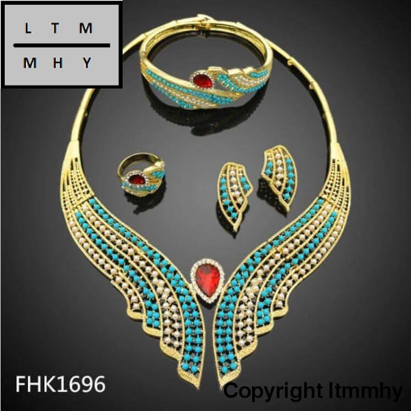 Unique Style Necklace In Blue And Gold Color Beeds With Attractive Red Stone