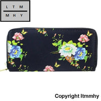 Vintage Roses Leather Women Long Wallets Purse Brand Wallet Card Holder Clutch B