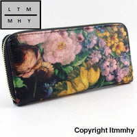 Vintage Roses Leather Women Long Wallets Purse Brand Wallet Card Holder Clutch C