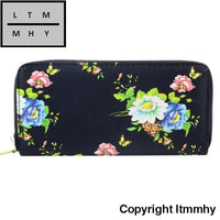 Vintage Roses Leather Women Long Wallets Purse Brand Wallet Card Holder Clutch