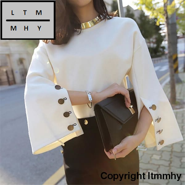 Women Autumn Flare Sleeve Split O-Neck Top New Fashion S