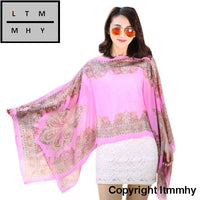 Women Chiffon Sunscreen Scarves High Quality Brand Big Size Printed Seaside Wear Suit For Women