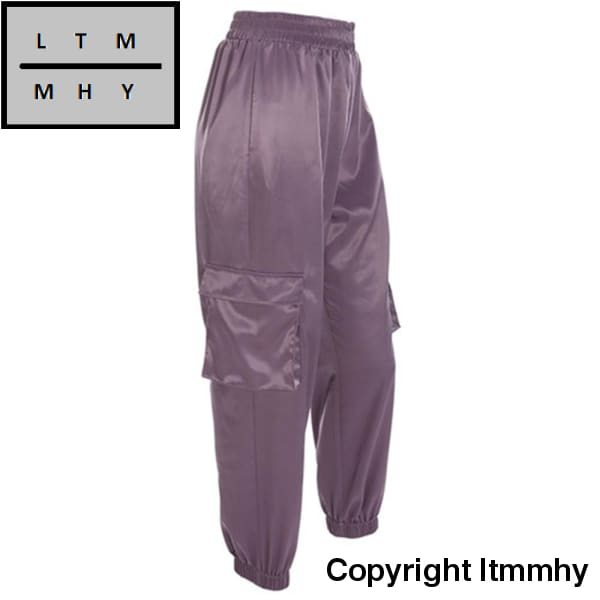 Women Joggers Sweatpants Purple Korean Style Trousers S