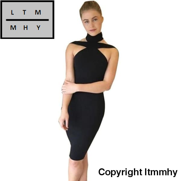 Women Ladies Evening Party Dress Sexy Bandage Sleeveless Halter Pencil Sheath Bodycon Vestidos Black