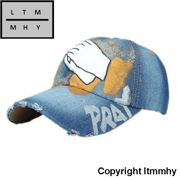 Women Men Baseball Cap Hand Painted Denim Adjustable Bone
