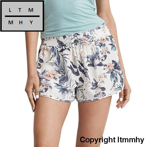 Women Sexy Hot Pants Summer Casual Floral Printed Shorts High Waist Drawstring Print Beach Wear