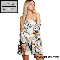 Women Sexy Retro Off Shoulder Floral Printed Party Cocktail Mini Dress Round Neck Cut Out Cute Shift