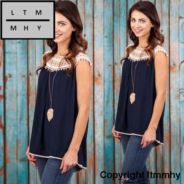 Women Summer Loose Lace Splice Vest Sleeveless Shirt Blouse Tank Womens Blusas Tops Blue / L