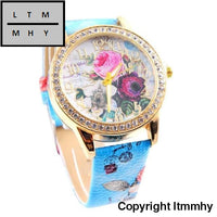 Womens Watch Top Brand Luxury Flower Mission Fashion Women Colored Diamond Ladies Casual Watches