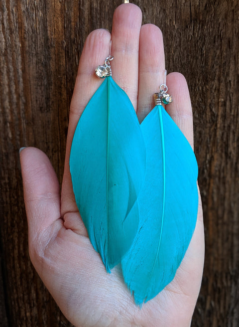 Rhinestone Feather Earrings (Dangles) - turquoise