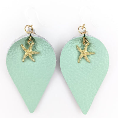 Leather Starfish Earrings (Teardrop Dangles)