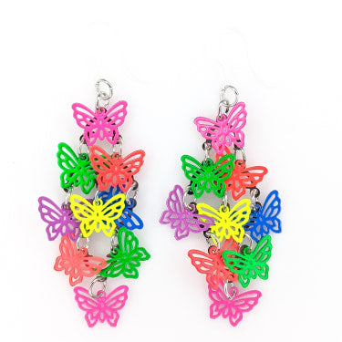 Cascading Butterfly Earrings (Dangles) - neon