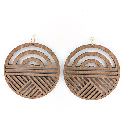 Wooden Sunrise Earrings (Dangles)