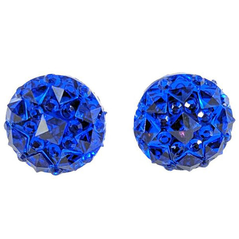 Crocodile Button Earrings (Studs) - royal blue