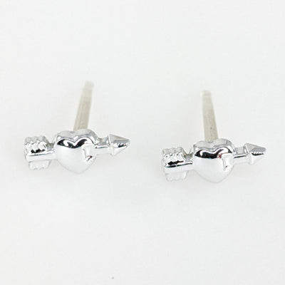 Tiny SIlver Arrow Heart Earrings (Studs)