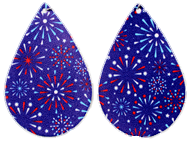 Firework Earrings (Teardrop Dangles) - red, white, and blue