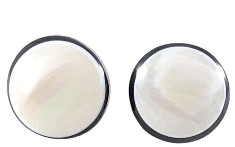 Monochrome Button Earrings (Studs) - white