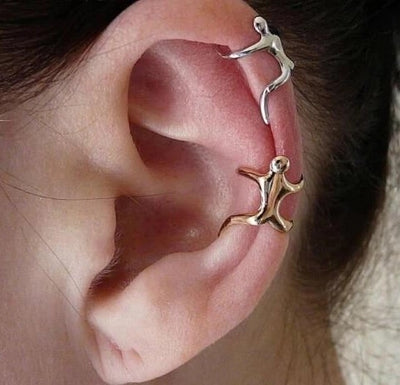 Climbing Man Ear Cuff Earring - size on ear