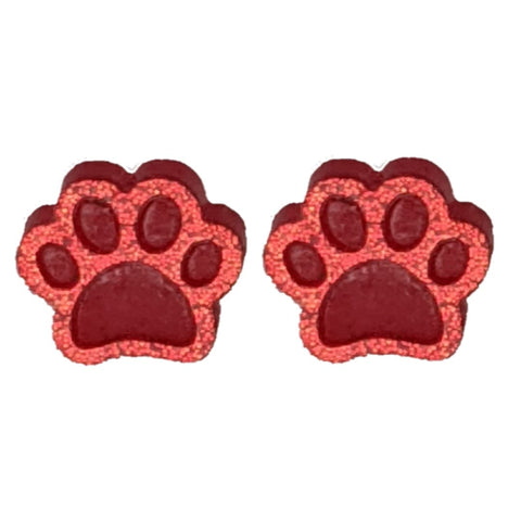 Glitter Paw Print Earrings (Studs) - red