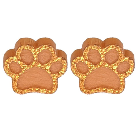 Glitter Paw Print Earrings (Studs) - orange