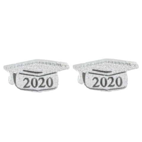 Graduation Cap Earrings (Studs) - glitter silver 2020
