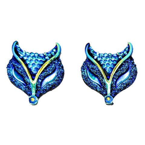Metallic Fox Earrings (Studs) - blue