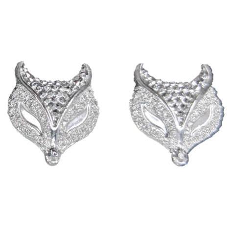 Metallic Fox Earrings (Studs) - silver