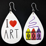 I Love Art Earrings (Teardrop Dangles) - Crayons