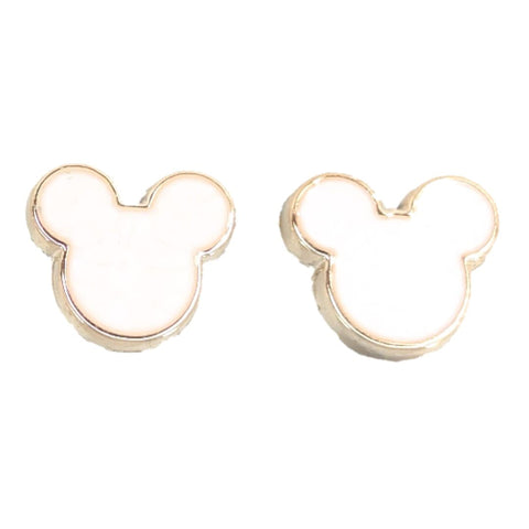Gold Rimmed Mouse Earrings (Studs) - white