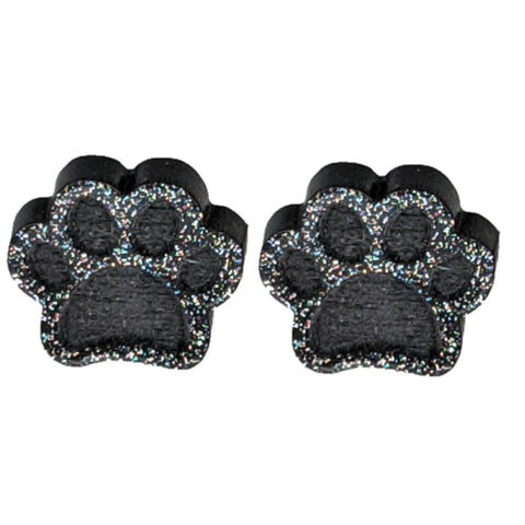 Glitter Paw Print Earrings (Studs) - black