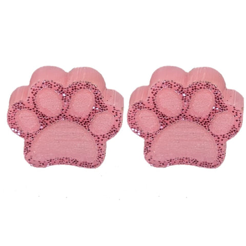 Glitter Paw Print Earrings (Studs) - pink