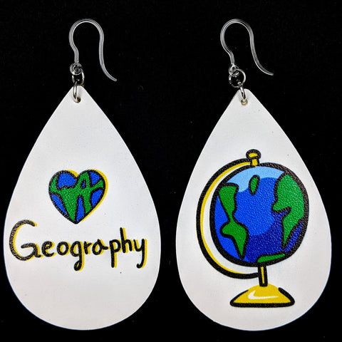 I Love Geography Earrings (Teardrop Dangles)