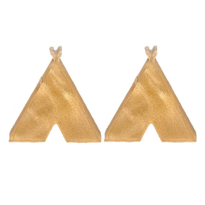 Teepee Earrings (Studs) - tan shimmer