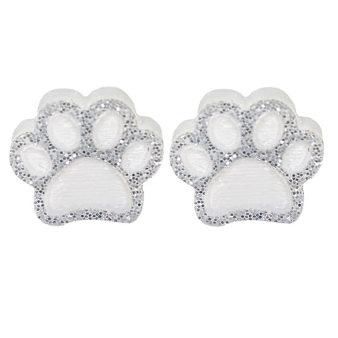 Glitter Paw Print Earrings (Studs) - white