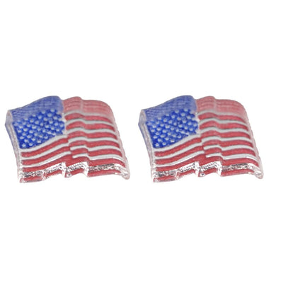 Waving American Flag Earrings (Studs) - red white and blue