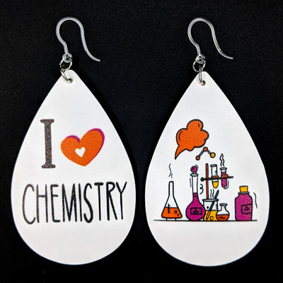 I Love Chemistry Earrings (Teardrop Dangles)