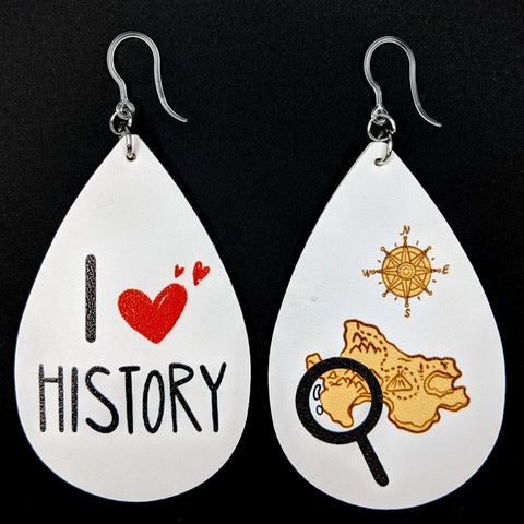 I Love History Earrings (Teardrop Dangles)